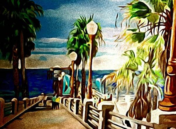 Landscape Art Print featuring the painting Oceanside Peir by Andrew Johnson