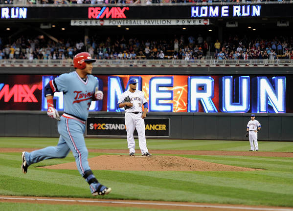 Oswaldo Arcia Art Print featuring the photograph Oswaldo Arcia and Wily Peralta by Hannah Foslien