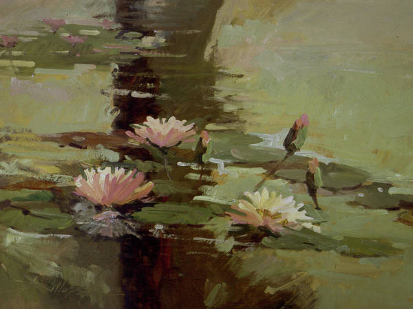Water Lily Paintings Art Print featuring the painting Pond Blossoms by Betty Jean Billups