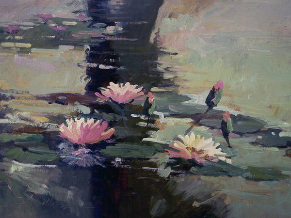 Water Lilies Art Print featuring the painting Pond Lilies by Betty Jean Billups