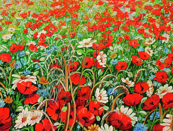 Floral Painting Flower Painting Red Poppies Painting Daisy Painting Field Poppies Painting Field Poppies Floral Flowers Wild Botanical Painting Red Painting Greeting Card Painting Art Print featuring the painting Poppies In The Wild by Karin Dawn Kelshall- Best