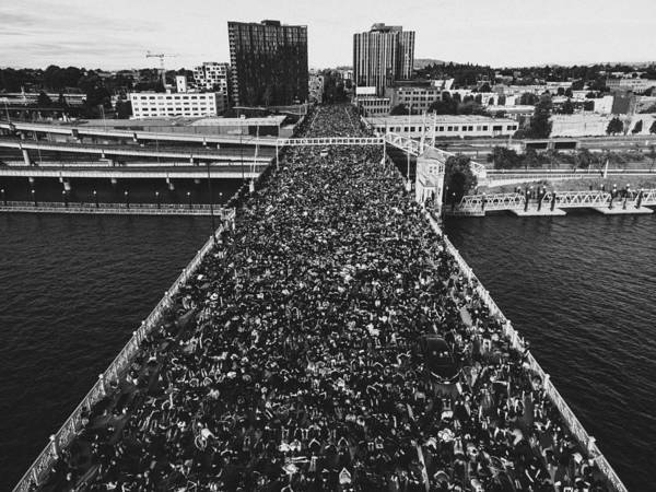 Protest Art Print featuring the photograph Portland Protests #3 by Andrew Wallner