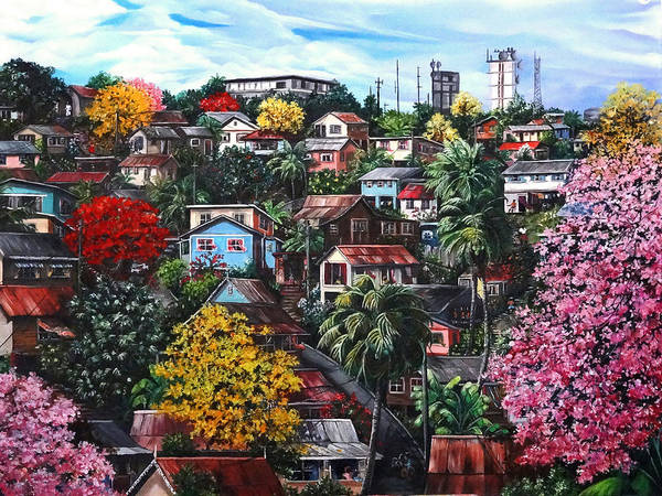 Landscape Painting Cityscape Painting Caribbean Painting Houses Hill Life Color Trees Poui Blossoms Trinidad And Tobago Floral Tropical Caribbean Art Print featuring the painting Poui Calling For The Rains by Karin Dawn Kelshall- Best