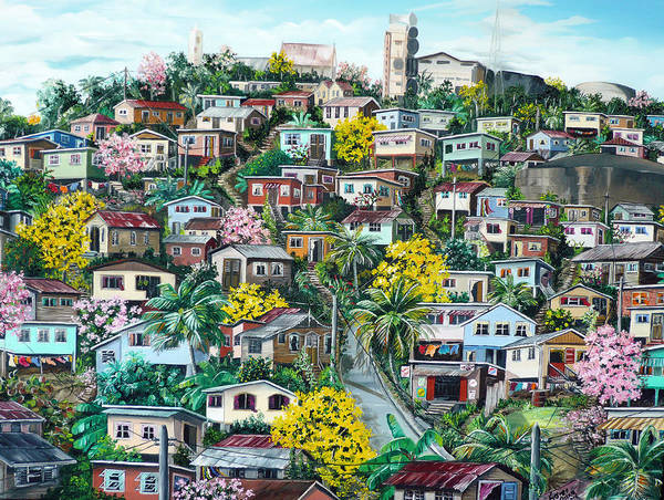 Landscape Painting Cityscape Painting Original Oil Painting  Blossoming Poui Tree Painting Lavantille Hill Trinidad And Tobago Painting Caribbean Painting Tropical Painting Art Print featuring the painting Poui On The Hill by Karin Dawn Kelshall- Best