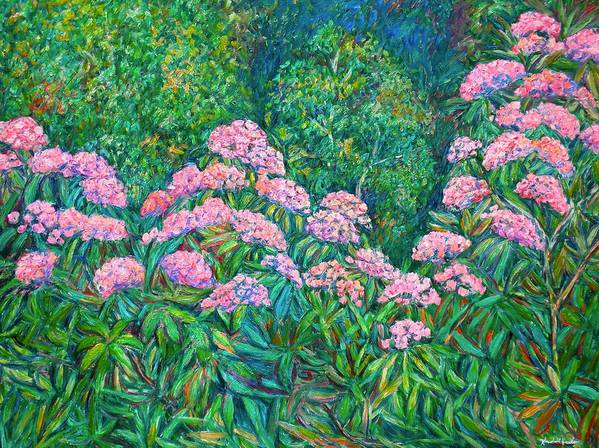 Floral Art Print featuring the painting Rhododendron Near Black Rock Hill by Kendall Kessler