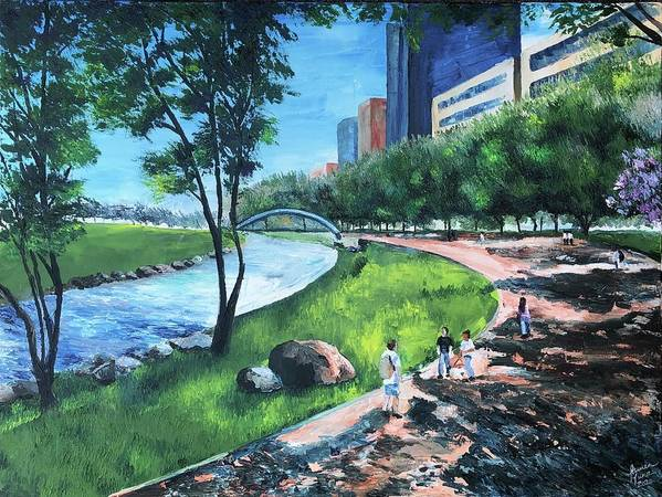 River Art Print featuring the painting Riverwalk by Lauren Luna