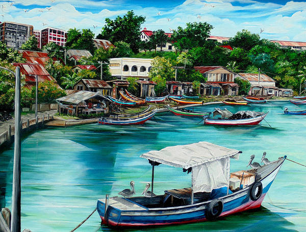 Ocean Painting Sea Scape Painting Fishing Boat Painting Fishing Village Painting Sanfernando Trinidad Painting Boats Painting Caribbean Painting Original Oil Painting Of The Main Southern Town In Trinidad  Artist Pob Art Print featuring the painting Sanfernando Wharf by Karin Dawn Kelshall- Best