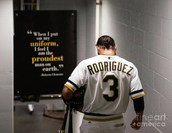 Sean Rodriguez Art Print featuring the photograph Sean Rodriguez and Roberto Clemente by Justin Berl