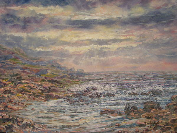 Landscape Art Print featuring the painting Seascape With Clouds. by Leonard Holland