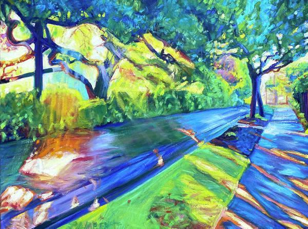 Neighborhood Art Print featuring the painting Shade and Sunshine by Bonnie Lambert