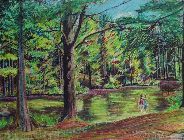 Family Art Print featuring the pastel Sisters At Wason Pond by Sean Connolly