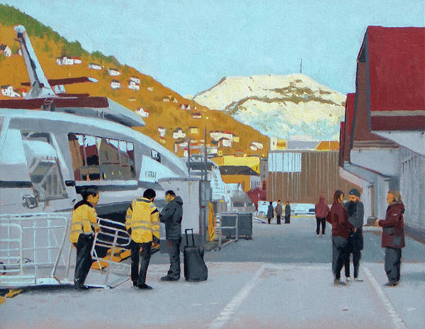 Boat Art Print featuring the painting Strandkaien Passenger Terminal by Arild Amland