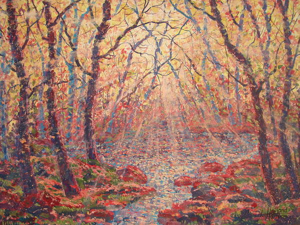 Painting Art Print featuring the painting Sun Rays Through The Trees. by Leonard Holland