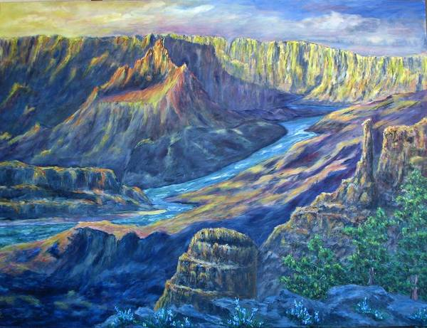 Lights And Shadows Art Print featuring the painting Sunrise in the Caynon by Thomas Restifo