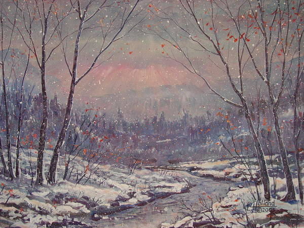 Landscape Art Print featuring the painting Sunset In Winter. by Leonard Holland