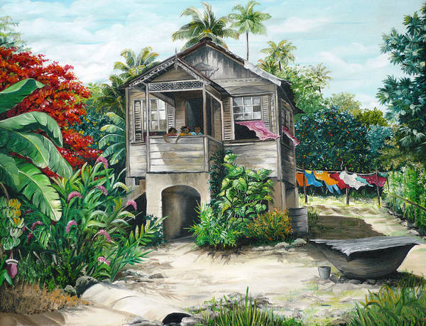 Landscape Painting Caribbean Painting House Painting Tobago Painting Trinidad Painting Tropical Painting Flamboyant Painting Banana Painting Trees Painting Original Painting Of Typical Country House In Trinidad And Tobago Art Print featuring the painting Sweet Island Life by Karin Dawn Kelshall- Best