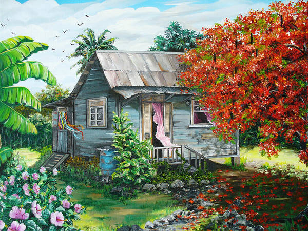 Caribbean Painting Original Painting Trinidad And Tobago ..house Painting Flamboyant Tree Painting Red Blossoms Painting Floral Painting Tree Painting Tropical Painting Art Print featuring the painting Sweet Tobago Life. 2 by Karin Dawn Kelshall- Best