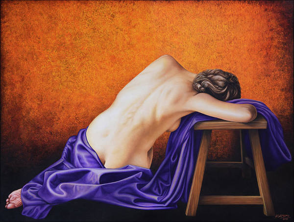 Nude Art Print featuring the painting Sylph in Purple by Horacio Cardozo