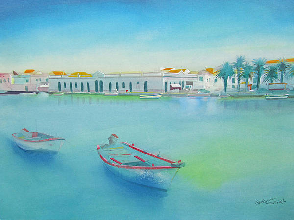 Boat Art Print featuring the painting Tavira Portugal the Old Market by Charles Stuart