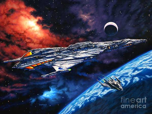 Space Ship Art Print featuring the painting The Anprall by Stu Shepherd
