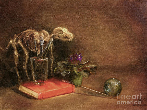Dog Art Print featuring the painting The Artist's Taboret- Cave Canum by Stella Violano