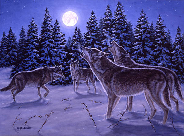 Wolf Art Print featuring the painting The Howling by Richard De Wolfe