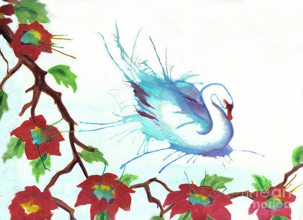 Swan Art Print featuring the painting The Messanger by Angelique Bowman