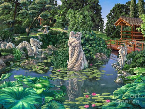 Oriental Garden Art Print featuring the painting The Romance Garden by Stu Shepherd