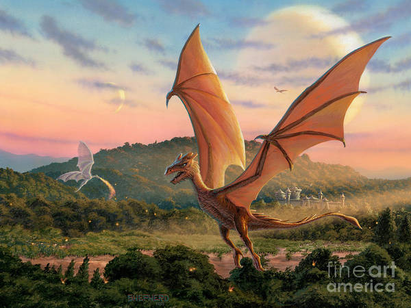 Dragon Art Print featuring the painting The Training Fields by Stu Shepherd