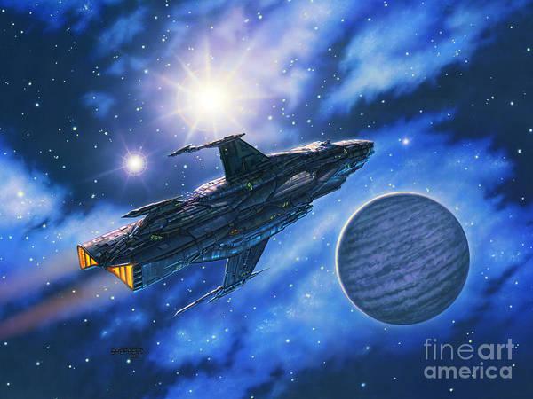 Spaceship Art Print featuring the painting The Verrhawk At Jovox by Stu Shepherd