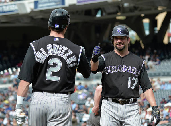 People Art Print featuring the photograph Todd Helton and Troy Tulowitzki by Denis Poroy