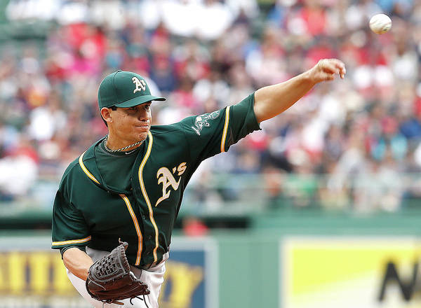 American League Baseball Art Print featuring the photograph Tommy Milone by Jim Rogash