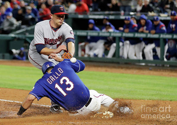 Baseball Catcher Art Print featuring the photograph Tyler Duffey, Chris Gimenez, and Joey Gallo by Brandon Wade