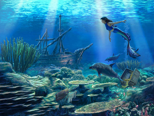 Mermaid Art Print featuring the digital art Undersea Discovery by Stu Shepherd