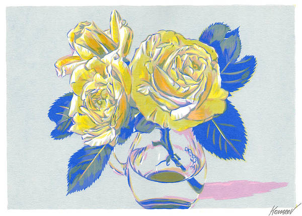 Rose Art Print featuring the mixed media Vase with yellow roses art print by Vitali Komarov
