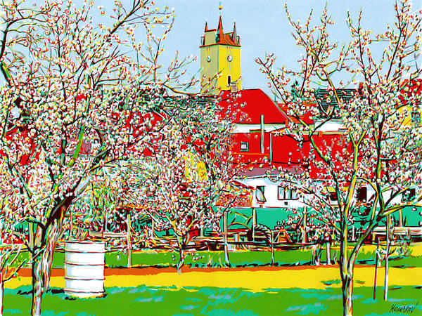 Village Art Print featuring the mixed media Village with blooming gardens by Vitali Komarov