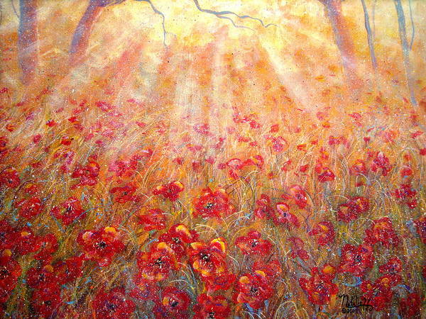 Landscape Art Print featuring the painting Warm Sun Rays by Natalie Holland
