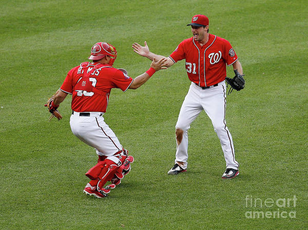 Baseball Catcher Art Print featuring the photograph Wilson Ramos and Max Scherzer by Rob Carr
