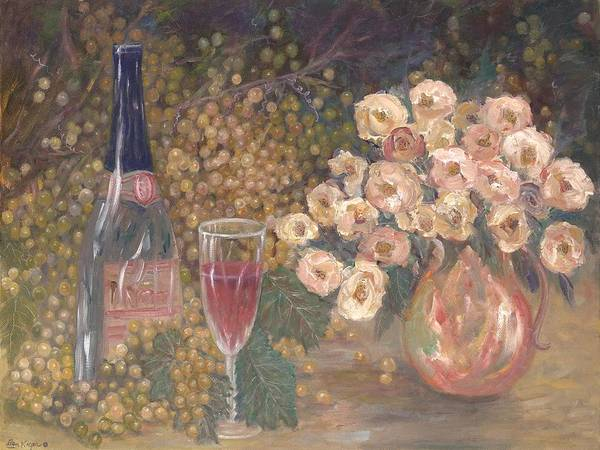Stilllife; Floral; Wine Art Print featuring the painting Wine And Roses by Ben Kiger