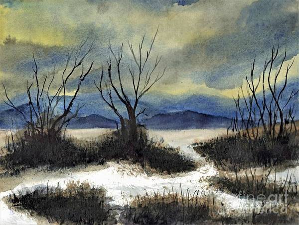 California Art Print featuring the painting Winter Cold Big Bear Lake by Randy Sprout