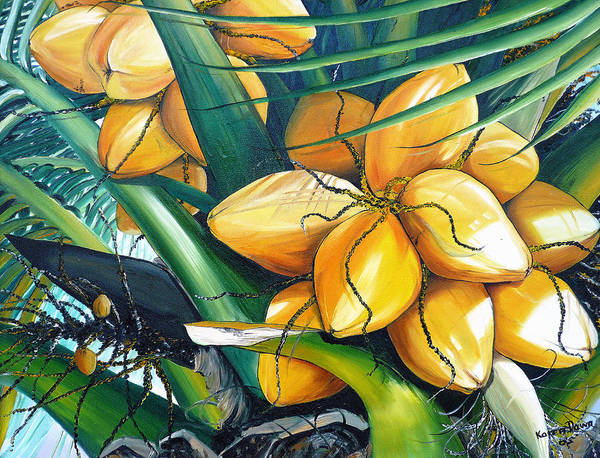 Coconut Painting Botanical Painting  Tropical Painting Caribbean Painting Original Painting Of Yellow Coconuts On The Palm Tree Art Print featuring the painting Yellow Coconuts by Karin Dawn Kelshall- Best