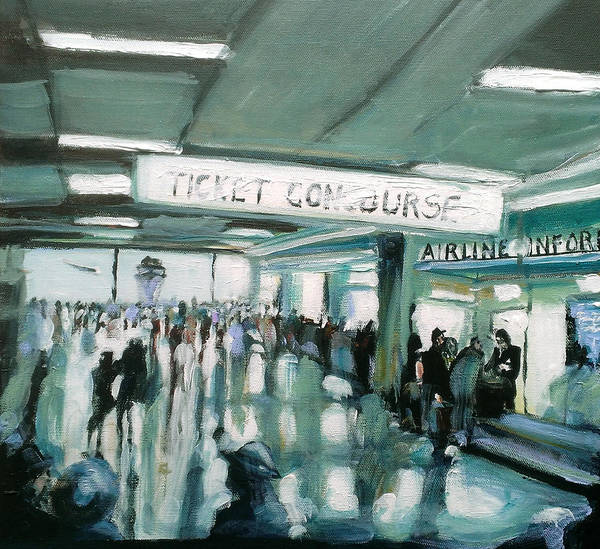 Airport Art Print featuring the painting 1960's Airport by Paul Mitchell