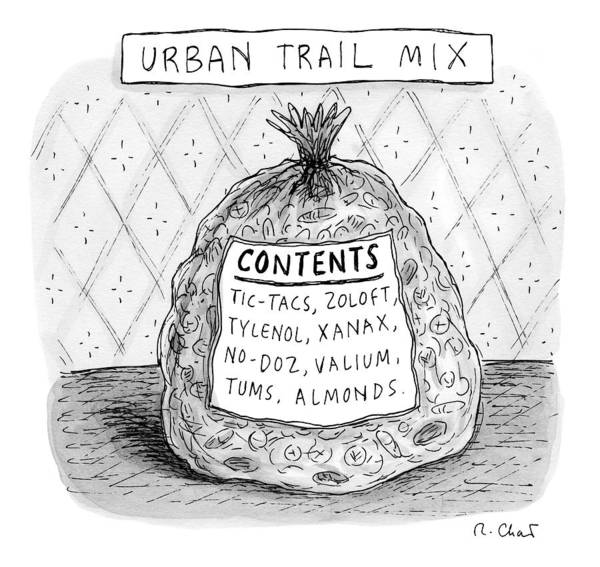 Bag Art Print featuring the drawing Urban Trail Mix by Roz Chast