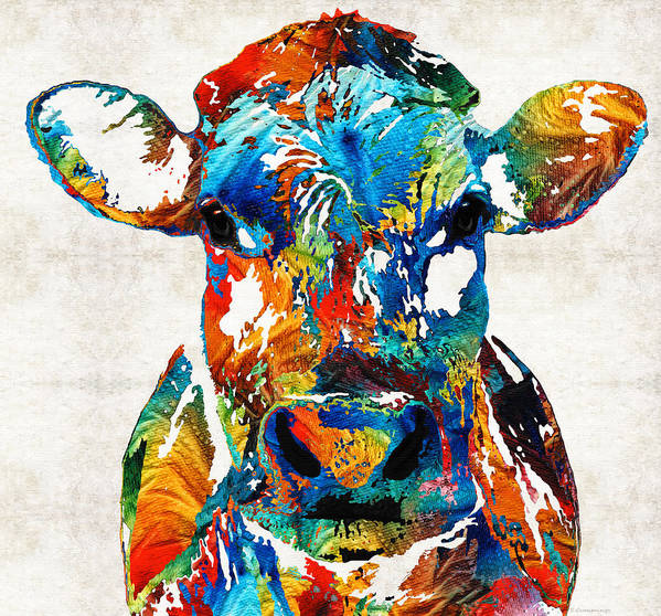 Bull Art Print featuring the painting Colorful Cow Art - Mootown - By Sharon Cummings by Sharon Cummings