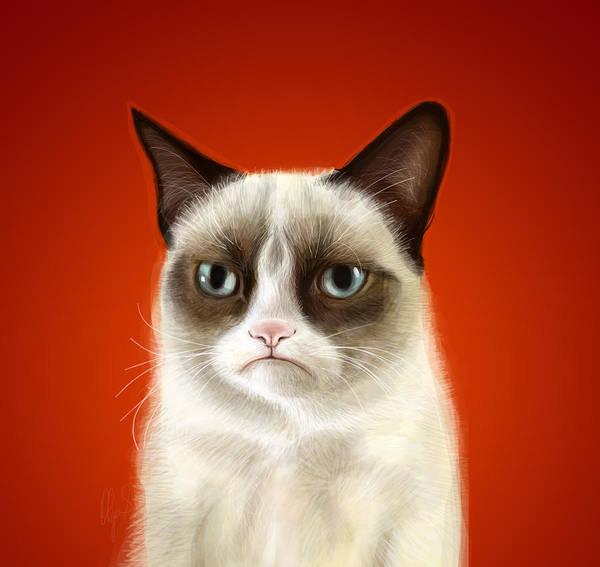 Grumpy Art Print featuring the digital art Grumpy Cat by Olga Shvartsur