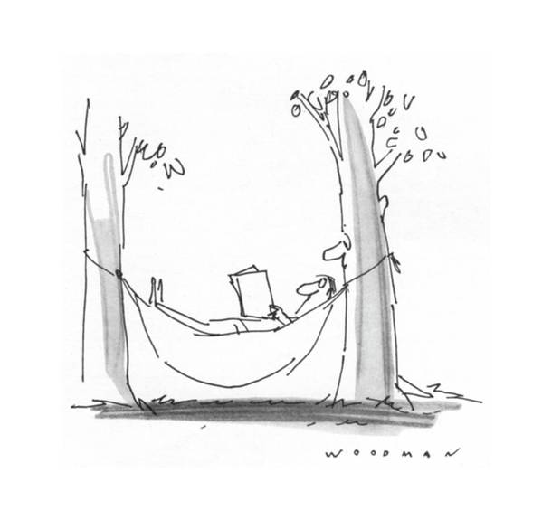 77339 Bwo Bill Woodman (man Is Reading In A Hammock As A Tree With A Face Reads Over His Shoulder.) Alive Book Books Environment Face Hammock Hammocks Landscape Landscapes Leisure Man Nature Outdoor Outdoors Over Read Reading Reads Relax Relaxation Relaxing Shoulder Tree Trees Art Print featuring the drawing New Yorker July 26th, 1976 by Bill Woodman