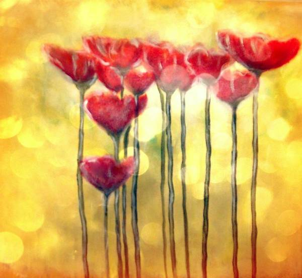 Poppies Art Print featuring the digital art Poppies at daylight by Joseph Ferguson