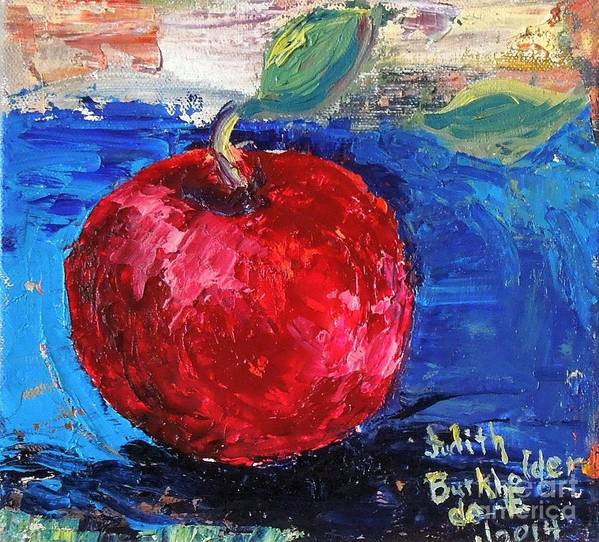 Apple Art Print featuring the painting Ruby Red Apple - SOLD by Judith Espinoza