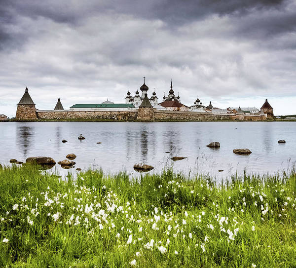 Grass Art Print featuring the photograph Solovetsky Monastery At Holy Lake by Mordolff