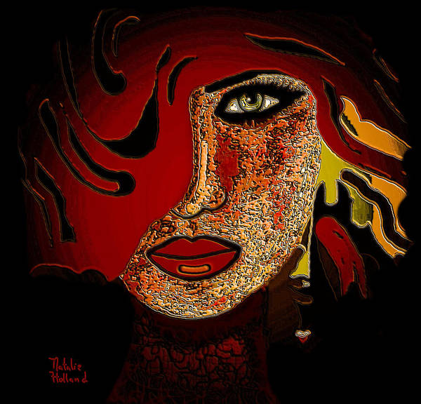 Face Art Print featuring the mixed media Face 10 by Natalie Holland